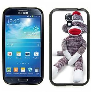 Samsung Galaxy S4 SIIII Black Rubber Silicone Case - Sock Monkey Doll Stuffed Doll Print