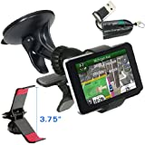 """ChargerCity Exclusive GPS Vehicle Suction Mount Kit for Garmin Nuvi 3597 2597 2577 2557 2497 2457 42 44 52 54 LM LT LMT 3.5""""- 5"""" inch GPS Navigator w/Free Micro SD Card Reader (Best Replacement for 010-11983-00)"""
