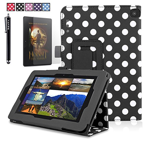 """Pu Leather Folio Smart Case Fits Amazon Kindle Fire Hd 7"""" 2014 White Polka Dots On Black + Stylus/Pen + Lcd Screen Protective Film + Fishbone Wire Wrap Amazon (Please Carefully Check Your Device Model To Order The Correct Version.)"""