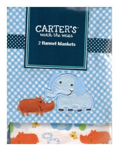Carter's Watch the Wear - 2 Flannel Blanket Set - Elephant/Rino