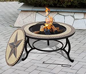 SALTILLO Table & Firepit - Large Fire Bowl, Garden Heater, Outdoor Dining, BBQ Fire Pit includes Grill and Rain Cover