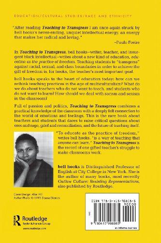 bell hooks teaching to transgress essays Encuentra teaching critical thinking: practical wisdom (bell hooks teaching trilogy) de bell hooks (isbn: 9780415968201) en amazon envíos gratis a partir de 19.