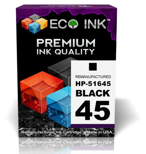 Eco Ink © Compatible / Remanufactured For Hp 45 51645A (1 Black) Ink Cartridges For Hp Deskjet 1000Cse, 1000Cxi, 1100, 1100C, 1120C, 1120Cse, 1120Cxi, 1220C-Ps, 1220Cse, 1220Cxi, 1600, 1600C, 1600Cm, 1600Cn, 6122, 6127, 710, 710C, 712, 712C, 720, 720C, 72