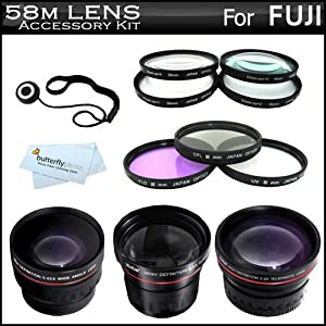 58mm Fisheye All In Lens Kit For Fuji FujiFilm HS20 EXR, HS30EXR, HS25EXR, X-E1, X-M1 HS50EXR, X-T1 Includes 0.21x Super Wide Angle Fisheye lens + .43x Wide Angle Lens + 2.2x Telephoto Lens + 3PC Filter Kit (UV, CPL, FLD) + Close Up Kit +1 +2 +4 +10 +More