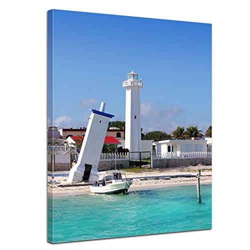 "Bilderdepot24 Leinwandbild ""Puerto Morelos Mexico Leuchtturm"" - 50x70 cm 1 teilig - fertig gerahmt, direkt vom Hersteller"