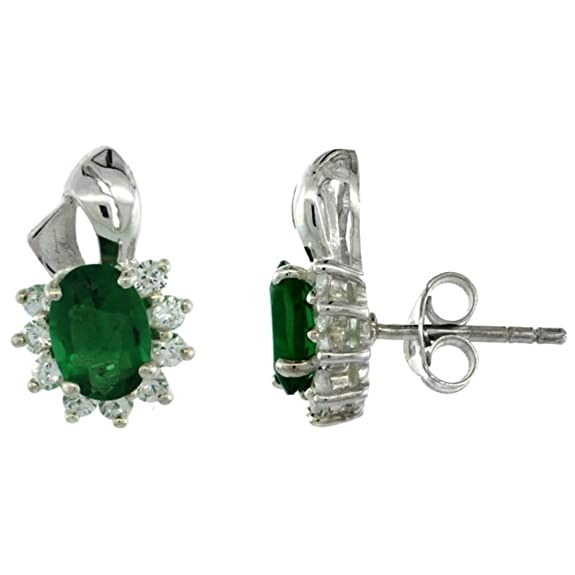 Revoni Sterling Silver Emerald CZ Cluster Earrings 9/16 in. (14mm) tall
