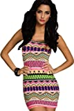 Amour-New Sexy Strips Black White Long Sleeves Mini Dress Night Out Dress Clubwear (Aztec Print;Green)