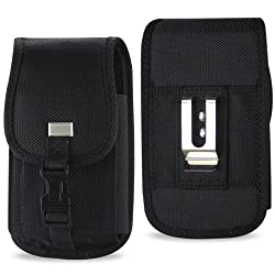 XXL SIZE Samsung Galaxy Note 5/4/3/2 Rugged Heavy Duty Vertical Nylon Case Pouch Holster with VELCRO Closure with Belt Clip (fits OTTER BOX Defender / LIFEPROOF / Mophie Juice Pack Air/Plus Case On