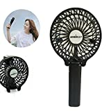 Ambielly Handfan Rechargeable Portable Handheld Mini Fan Foldable Fans Battery Operated Cooling Fan Electric Personal Fanswith 18650 Battery for Home and Travel(handfan, Black 1)