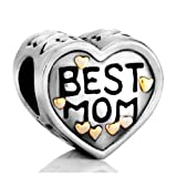 Pugster Heart Best Mom Charms Beads Fit Pandora Chamilia Biagi Charms Bracelet