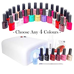 Limited Edition NEW from NK1 Gel Nails YOU CHOOSE 4 COLOURS Starter Kit 36w UV Lamp plus TOP & BASE COATS. SHELLAC WRAPS. METAL CUTICLE STICK. 100ml ACETONE & PREP&SHINE Residue Remover