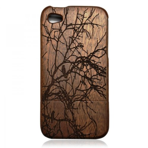 Wood iPhone4/4s Case- Hand Carved Tree