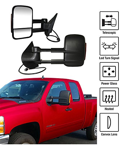 2007-2013 Chevy Silverado / GMC Sierra Towing Mirrors Pair Set Power Heated Glass With Convex Lens LED Turn Signal Telescoping Pickup Truck Side View Mirrors (2008 Sierra Towing Mirrors compare prices)