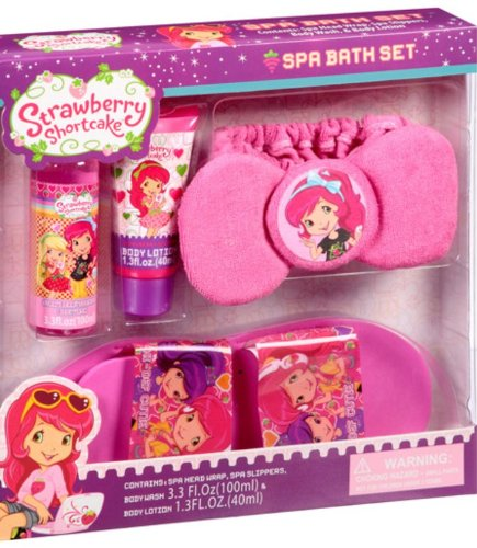 Strawberry Shortcake Spa Bath Set With Slippers! Strawberry Scented! front-522449