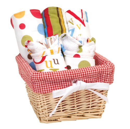 Trend Lab Dr. Seuss Bib and Burp Cloth Basket Gift Set, ABC, 7 Piece