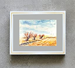 1 0 x 7, Watecolor landscape with three trees in a field, watercolor original by Andrejs Bovtovics.