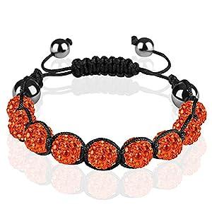 Taffstyle® Schmuck Shamballa Strass Armband Hämatit Amulett Glücksbringer Glücksarmband mit Kristall Kugel einfarbig für Damen / Herren - Orange