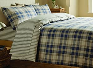 catherine lansfield tartan bettw sche set king size gr e marineblau k che haushalt. Black Bedroom Furniture Sets. Home Design Ideas
