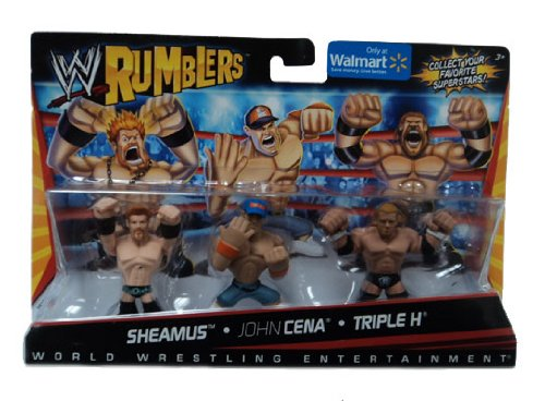 Buy Low Price Mattel WWE Wrestling Rumblers Exclusive Mini Figure 3Pack Sheamus, John Cena Triple H (B004SI672A)
