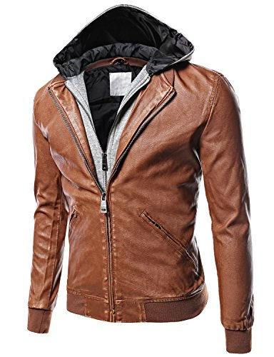 Moto Racer Faux Leather Removable Hood Jackets Brown Size XL (Faux Leather Removable Hood compare prices)