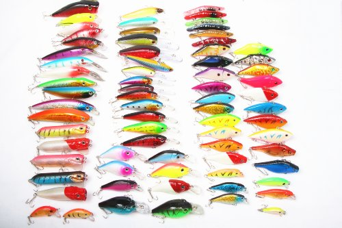 68pcs Collection/assorted of Fishing Hard Lures Crankbaits/swimbaits Bass Freshwater Fishing Color Random