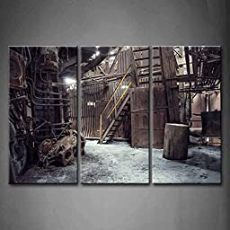 Modern Home Decoration painting 3 Panel Wall Art Abandoned Factory Industrial Background Machine Messy The Picture Print On Canvas Architecture Pictures piece