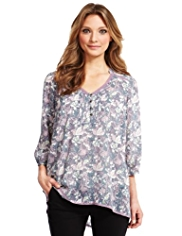 Indigo Collection Floral Oblong Tunic with Camisole