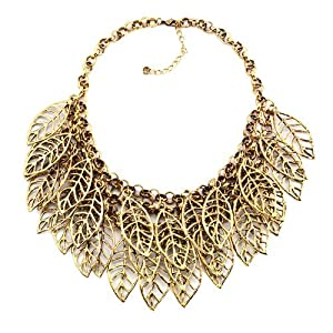 Pugster Fashion Vintage Golden Chain Jewelry Hollow Chunky Leaf Pendant Bubble BIB Statement Fashion Choker Necklaces