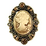 Medium Brown Cameo Brooch Pin Charm Classic Antique Light Brown Rhinestones Oval Ladies Women Fashion Jewelry Necklace Pendant Compatible thumbnail