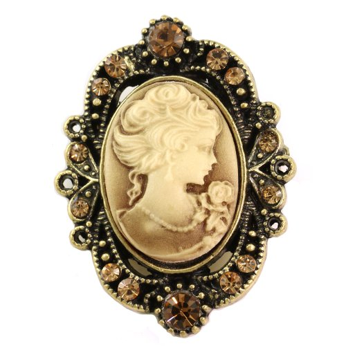 Medium Brown Cameo Brooch Pin Charm Classic Antique