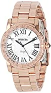 Invicta Women's 14375 Angel Silver Dial Diamond-Accented 18k Rose Gold Ion-Plated Stainless Steel…
