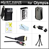 Must Have Accessory Kit For Olympus Stylus SH-50 iHS, SH-50MR, SH-1 Digital Camera Includes Extended Replacement (1500maH) LI-90B, LI-92B Battery + Ac/Dc Travel Charger + Micro HDMI Cable + USB Card Reader + Case + Mini Tripod + Screen Protectors + More