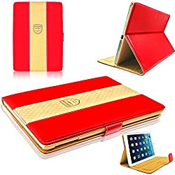 Red - Premium Luxe Leather Stand Flip Carry Case Cover Smart cover for Apple iPad Mini4 Mini 4 Smart Cover Folio Flip cover case