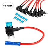 Nilight NI-FH02 Fuse Holder Add-a-circuit Fuse TAP Adapter Mini ATM APM Blade Fuse Holder - 10 Pack, 2 years Warranty