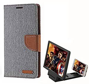 Aart Fancy Wallet Dairy Jeans Flip Case Cover for MicromaxQ380 (Grey) + 3D SCREEN MAGNIFIER - HD VIDEO AMPLIFIER - with Stylish foldable holder stand by Aart Store.