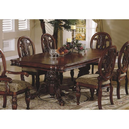 Home line elegant double pedestal dining table g230t for Double t dining plan