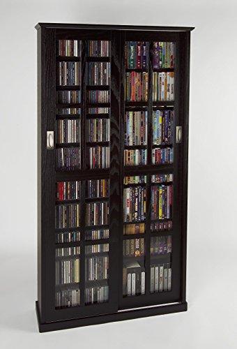Leslie Dame MS-700ES Mission Multimedia DVD/CD Storage Cabinet with Sliding Glass Doors, Espresso (Storage Cabinet Glass Door compare prices)