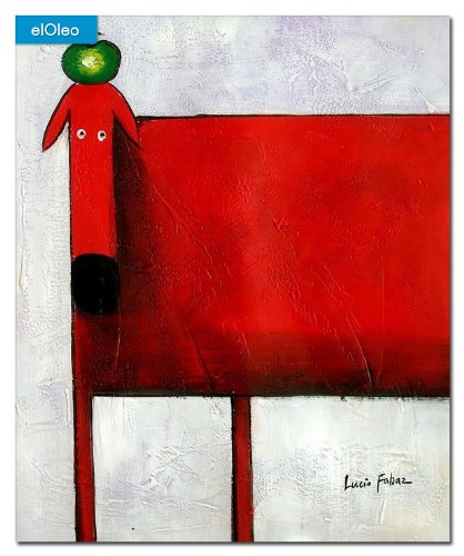 elOleo Pop Art – Der lustige rote Hund 60×50 Gemälde auf Leinwand handgemalt 83239A günstig online kaufen