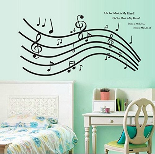 Music, Dance Classroom Bedroom Wall Stickers The Five Line Music Black Notes front-1014590