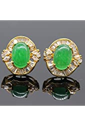 women hot sell fashion white zircon& jade earrings vintage luxury style 18k gold plated for friend best gift