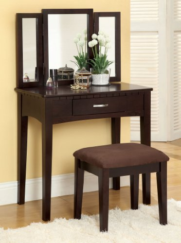 Enitial Lab Doris 2-Piece Vanity and Stool Set, Espresso
