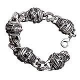 Black Enamel S'Steel Men's Wrist Skull/Skeleton Bracelet Biker Chain link