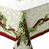 Benson Mills Christmas Ribbons Engineered Printed Tablecloth, 55-Percent Cotton 45-Percent Polyester