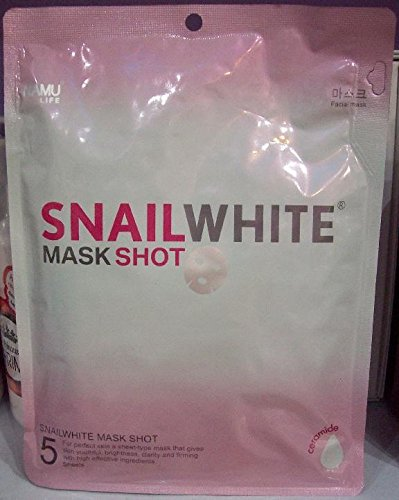 5 Pcs. Snail White Mask Shot Facial Whitening Repair Renew Recovery