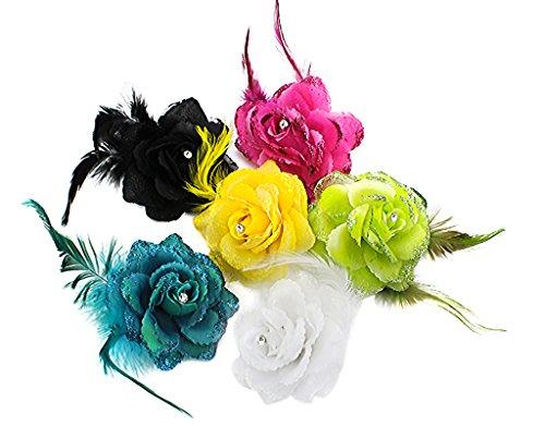 ® 6 Stück Haarclip Haarklipp Blumen Haarklammer Haarspange Ansteckblume Brosche Feder