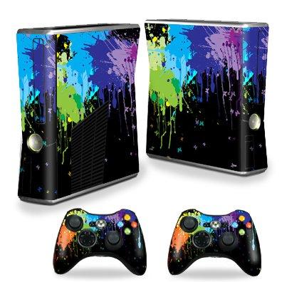 Protective Vinyl Skin Decal Cover for Microsoft Xbox 360 S Slim + 2 Controller Skins Sticker Skins Splatter