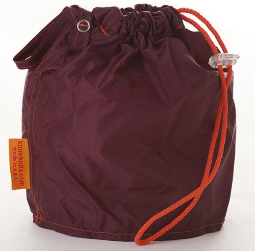 Maroon Medium GoKnit Pouch Project Bag w/ Loop & Drawstring from KnowKnits