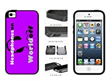 buy I Love Music Head Phones On World Off Dual Layer Phone Case Back Cover Apple Iphone 4 4S Comes With Security Tag And Myphone Designs(Tm) Cleaning Cloth
