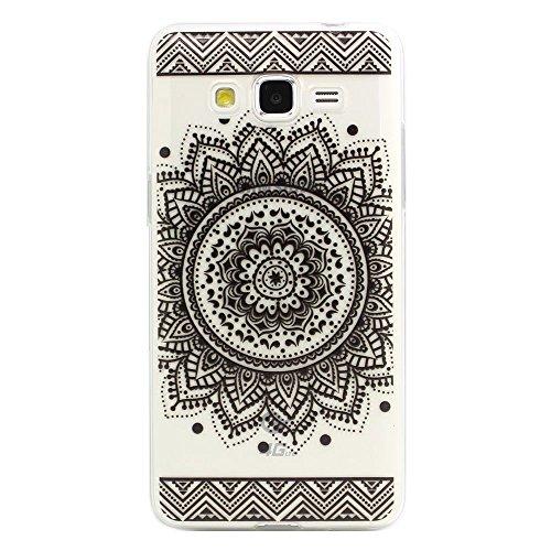 JIAXIUFEN TPU Gel Silicone Protettivo Skin Custodia Protettiva Shell Case Cover Per Samsung Galaxy Grand Prime G530/G530H/G530FZ/G5308W/G5309W/G5306W - Henna Black Million Spent Ethnic Tribal