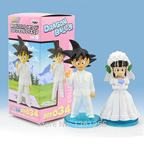 Rosy Women New Japan Dragon Ball Goku Chichi Wedding Pvc Figure Toys 8Cm Set Of 2 (Chichi Costume)